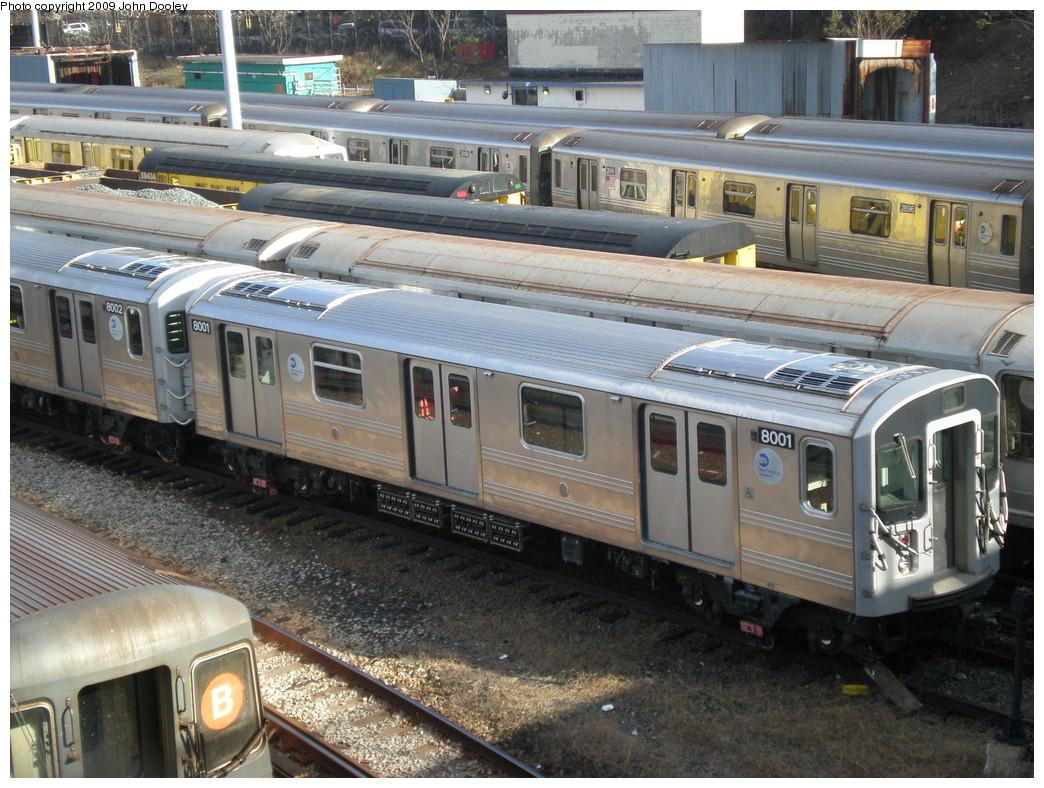 (276k, 1044x788)<br><b>Country:</b> United States<br><b>City:</b> New York<br><b>System:</b> New York City Transit<br><b>Location:</b> Concourse Yard<br><b>Car:</b> R-110A (Kawasaki, 1992) 8001 <br><b>Photo by:</b> John Dooley<br><b>Date:</b> 12/11/2009<br><b>Viewed (this week/total):</b> 3 / 1939