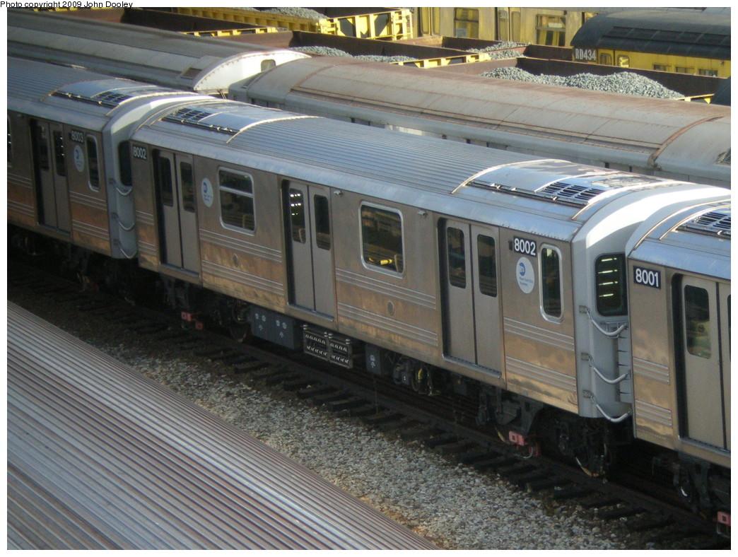 (258k, 1044x788)<br><b>Country:</b> United States<br><b>City:</b> New York<br><b>System:</b> New York City Transit<br><b>Location:</b> Concourse Yard<br><b>Car:</b> R-110A (Kawasaki, 1992) 8002 <br><b>Photo by:</b> John Dooley<br><b>Date:</b> 12/11/2009<br><b>Viewed (this week/total):</b> 0 / 1307