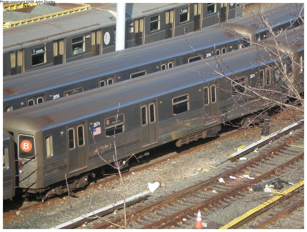 (314k, 1044x788)<br><b>Country:</b> United States<br><b>City:</b> New York<br><b>System:</b> New York City Transit<br><b>Location:</b> Concourse Yard<br><b>Car:</b> R-68 (Westinghouse-Amrail, 1986-1988)  2874 <br><b>Photo by:</b> John Dooley<br><b>Date:</b> 12/11/2009<br><b>Viewed (this week/total):</b> 0 / 1111