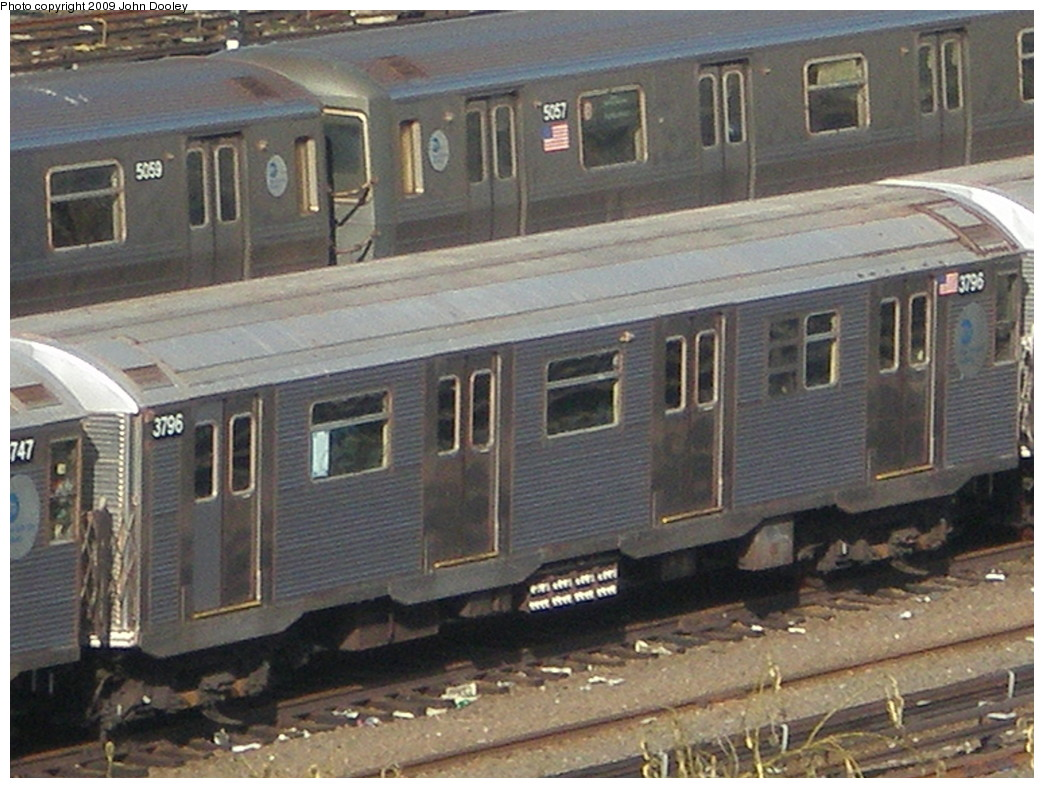 (231k, 1044x788)<br><b>Country:</b> United States<br><b>City:</b> New York<br><b>System:</b> New York City Transit<br><b>Location:</b> Concourse Yard<br><b>Car:</b> R-32 (Budd, 1964)  3796 <br><b>Photo by:</b> John Dooley<br><b>Date:</b> 12/11/2009<br><b>Viewed (this week/total):</b> 1 / 973