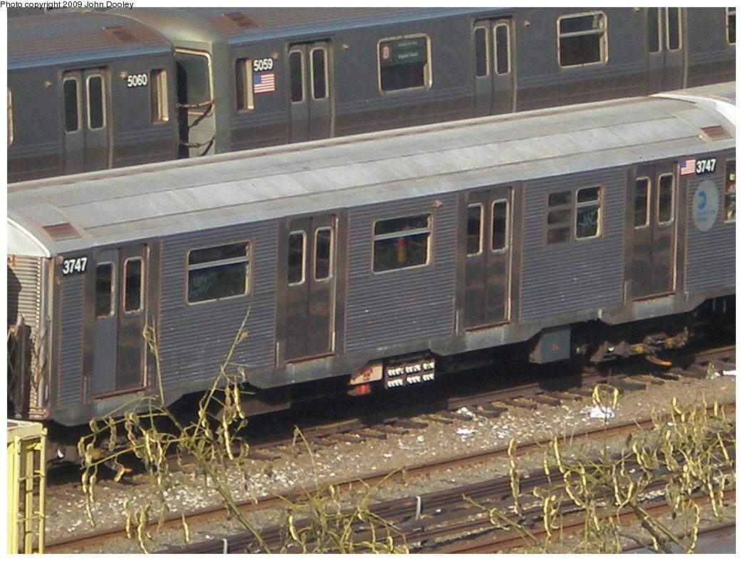 (262k, 1044x788)<br><b>Country:</b> United States<br><b>City:</b> New York<br><b>System:</b> New York City Transit<br><b>Location:</b> Concourse Yard<br><b>Car:</b> R-32 (Budd, 1964)  3747 <br><b>Photo by:</b> John Dooley<br><b>Date:</b> 12/11/2009<br><b>Viewed (this week/total):</b> 0 / 836