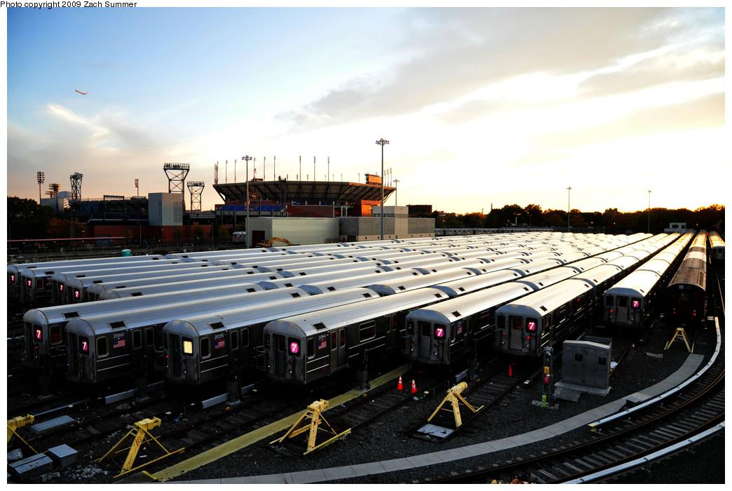 (238k, 1044x700)<br><b>Country:</b> United States<br><b>City:</b> New York<br><b>System:</b> New York City Transit<br><b>Location:</b> Corona Yard<br><b>Car:</b> R-62A (Bombardier, 1984-1987)  2080/2035/2064/2130/2134/1970 <br><b>Photo by:</b> Zach Summer<br><b>Date:</b> 10/25/2009<br><b>Viewed (this week/total):</b> 1 / 1324