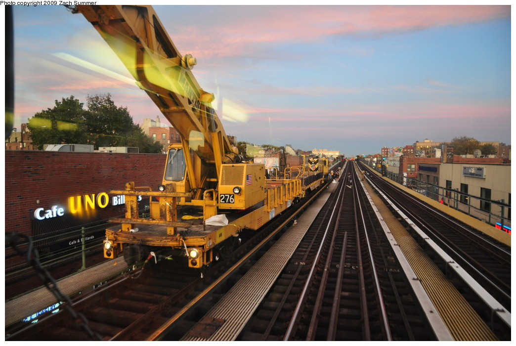 (261k, 1044x700)<br><b>Country:</b> United States<br><b>City:</b> New York<br><b>System:</b> New York City Transit<br><b>Line:</b> IRT Flushing Line<br><b>Location:</b> 74th Street/Broadway <br><b>Route:</b> Work Service<br><b>Car:</b> R-102 Crane Car  276 <br><b>Photo by:</b> Zach Summer<br><b>Date:</b> 10/25/2009<br><b>Viewed (this week/total):</b> 0 / 1014