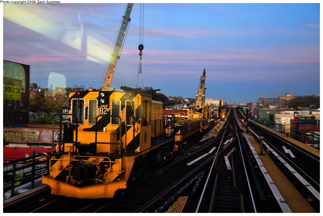 (251k, 1044x700)<br><b>Country:</b> United States<br><b>City:</b> New York<br><b>System:</b> New York City Transit<br><b>Line:</b> IRT Flushing Line<br><b>Location:</b> 74th Street/Broadway <br><b>Route:</b> Work Service<br><b>Car:</b> R-52 Locomotive  82 <br><b>Photo by:</b> Zach Summer<br><b>Date:</b> 10/25/2009<br><b>Viewed (this week/total):</b> 1 / 857