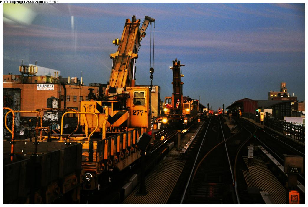 (281k, 1044x700)<br><b>Country:</b> United States<br><b>City:</b> New York<br><b>System:</b> New York City Transit<br><b>Line:</b> IRT Flushing Line<br><b>Location:</b> 74th Street/Broadway <br><b>Route:</b> Work Service<br><b>Car:</b> R-102 Crane Car  277 <br><b>Photo by:</b> Zach Summer<br><b>Date:</b> 10/25/2009<br><b>Viewed (this week/total):</b> 3 / 1066