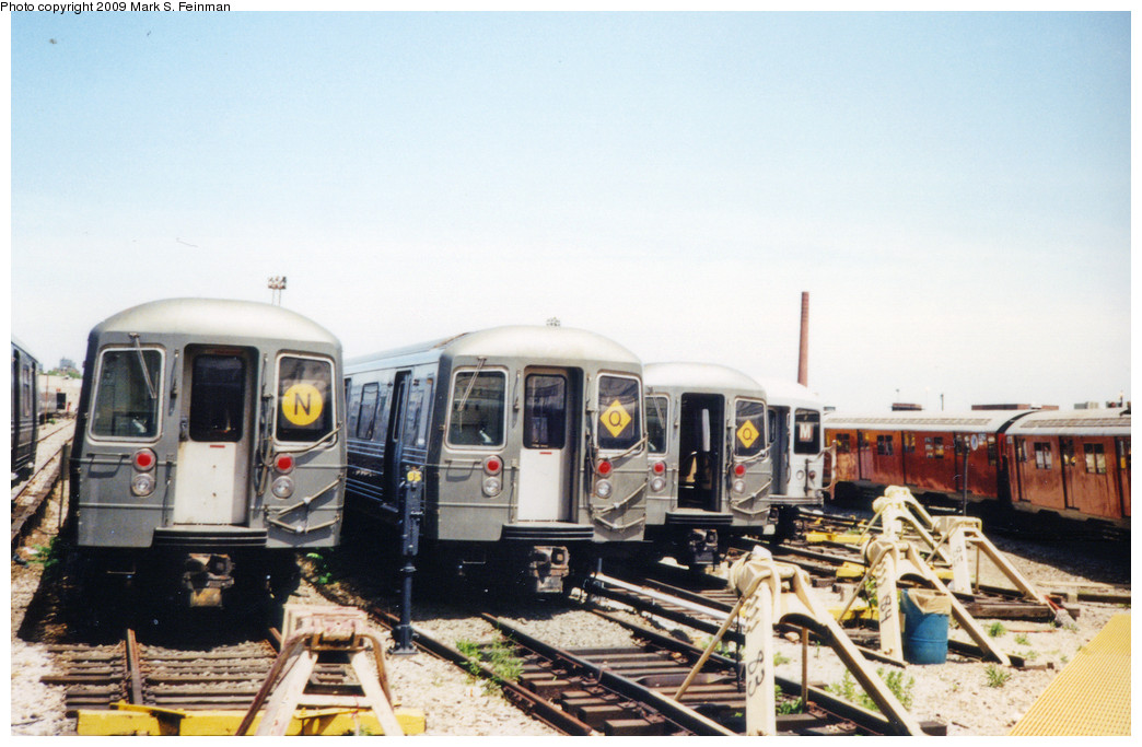 (215k, 1044x683)<br><b>Country:</b> United States<br><b>City:</b> New York<br><b>System:</b> New York City Transit<br><b>Location:</b> Coney Island Yard<br><b>Car:</b> R-68/R-68A Series (Number Unknown)  <br><b>Photo by:</b> Mark S. Feinman<br><b>Date:</b> 5/30/1993<br><b>Viewed (this week/total):</b> 3 / 1567