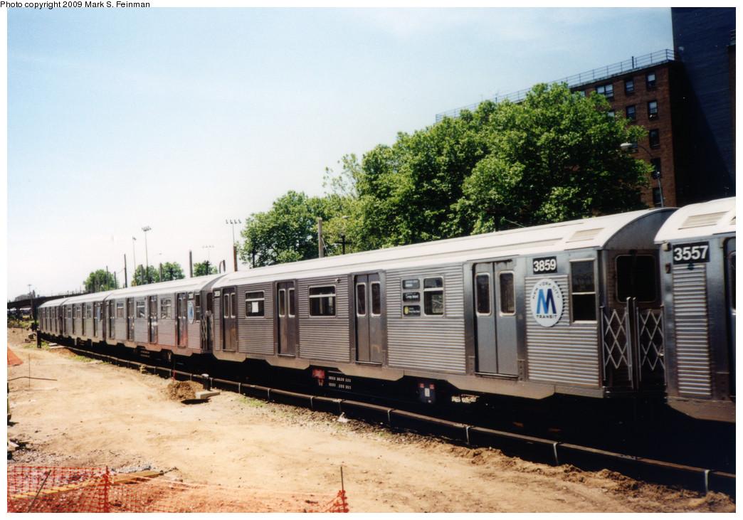 (245k, 1044x731)<br><b>Country:</b> United States<br><b>City:</b> New York<br><b>System:</b> New York City Transit<br><b>Location:</b> Coney Island Yard<br><b>Route:</b> N<br><b>Car:</b> R-32 (Budd, 1964)  3859 <br><b>Photo by:</b> Mark S. Feinman<br><b>Date:</b> 5/30/1993<br><b>Viewed (this week/total):</b> 2 / 1465