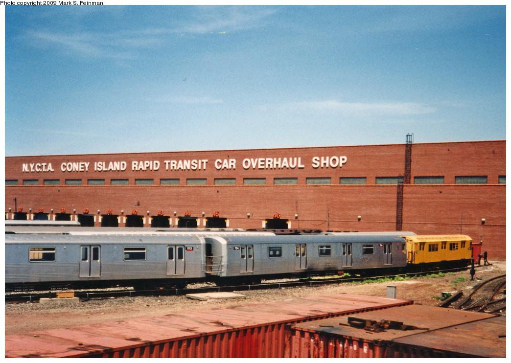 (271k, 1044x742)<br><b>Country:</b> United States<br><b>City:</b> New York<br><b>System:</b> New York City Transit<br><b>Location:</b> Coney Island Yard<br><b>Car:</b> R-46 (Pullman-Standard, 1974-75) 754 <br><b>Photo by:</b> Mark S. Feinman<br><b>Date:</b> 5/30/1993<br><b>Notes:</b> With R22 7358<br><b>Viewed (this week/total):</b> 2 / 1284