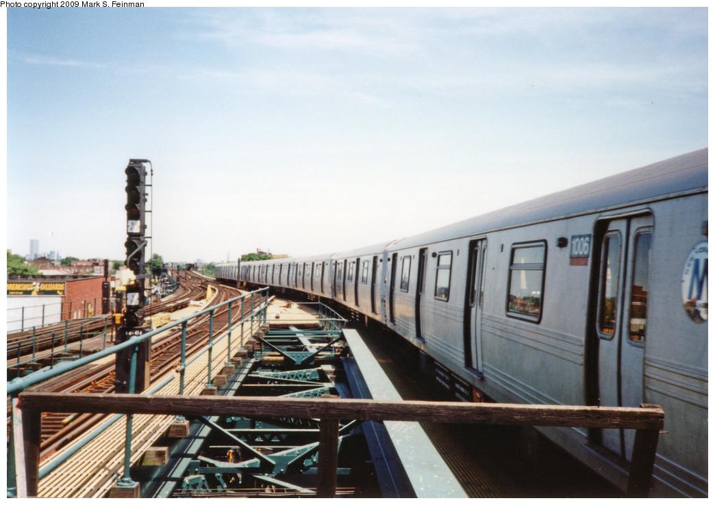 (214k, 1044x738)<br><b>Country:</b> United States<br><b>City:</b> New York<br><b>System:</b> New York City Transit<br><b>Line:</b> BMT Culver Line<br><b>Location:</b> Kings Highway <br><b>Route:</b> F<br><b>Car:</b> R-46 (Pullman-Standard, 1974-75) 1006 <br><b>Photo by:</b> Mark S. Feinman<br><b>Date:</b> 5/30/1993<br><b>Viewed (this week/total):</b> 1 / 1558