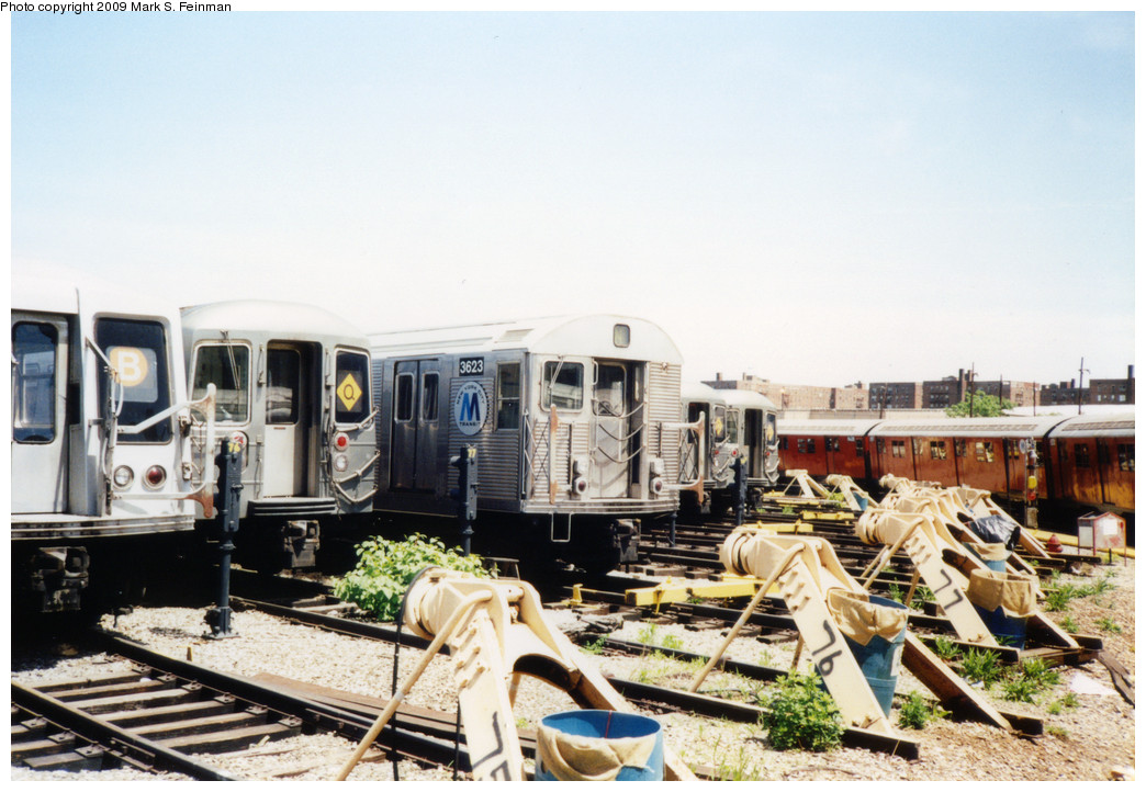 (235k, 1044x722)<br><b>Country:</b> United States<br><b>City:</b> New York<br><b>System:</b> New York City Transit<br><b>Location:</b> Coney Island Yard<br><b>Car:</b> R-32 (Budd, 1964)  3623 <br><b>Photo by:</b> Mark S. Feinman<br><b>Date:</b> 5/30/1993<br><b>Viewed (this week/total):</b> 2 / 1575