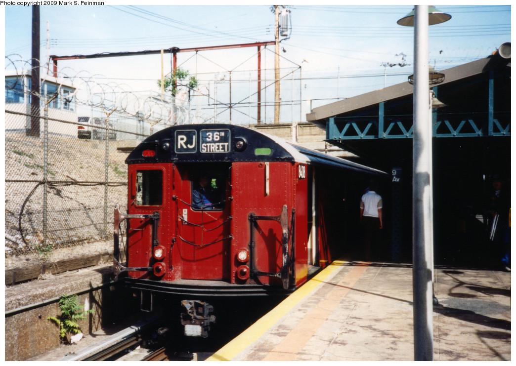 (257k, 1044x741)<br><b>Country:</b> United States<br><b>City:</b> New York<br><b>System:</b> New York City Transit<br><b>Line:</b> BMT West End Line<br><b>Location:</b> 9th Avenue <br><b>Route:</b> Fan Trip<br><b>Car:</b> R-30 (St. Louis, 1961) 8408 <br><b>Photo by:</b> Mark S. Feinman<br><b>Date:</b> 5/30/1993<br><b>Viewed (this week/total):</b> 2 / 1825