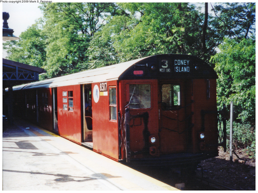 (321k, 1044x782)<br><b>Country:</b> United States<br><b>City:</b> New York<br><b>System:</b> New York City Transit<br><b>Line:</b> BMT West End Line<br><b>Location:</b> 9th Avenue <br><b>Route:</b> Fan Trip<br><b>Car:</b> R-30 (St. Louis, 1961) 8317 <br><b>Photo by:</b> Mark S. Feinman<br><b>Date:</b> 5/30/1993<br><b>Viewed (this week/total):</b> 1 / 1891