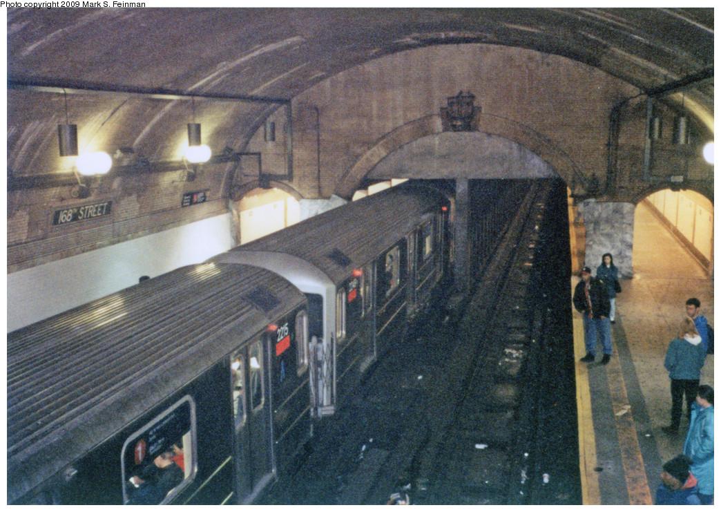 (340k, 1044x741)<br><b>Country:</b> United States<br><b>City:</b> New York<br><b>System:</b> New York City Transit<br><b>Line:</b> IRT West Side Line<br><b>Location:</b> 168th Street<br><b>Route:</b> 1<br><b>Car:</b> R-62A (Bombardier, 1984-1987) 2215 <br><b>Photo by:</b> Mark S. Feinman<br><b>Date:</b> 1993<br><b>Viewed (this week/total):</b> 1 / 2764