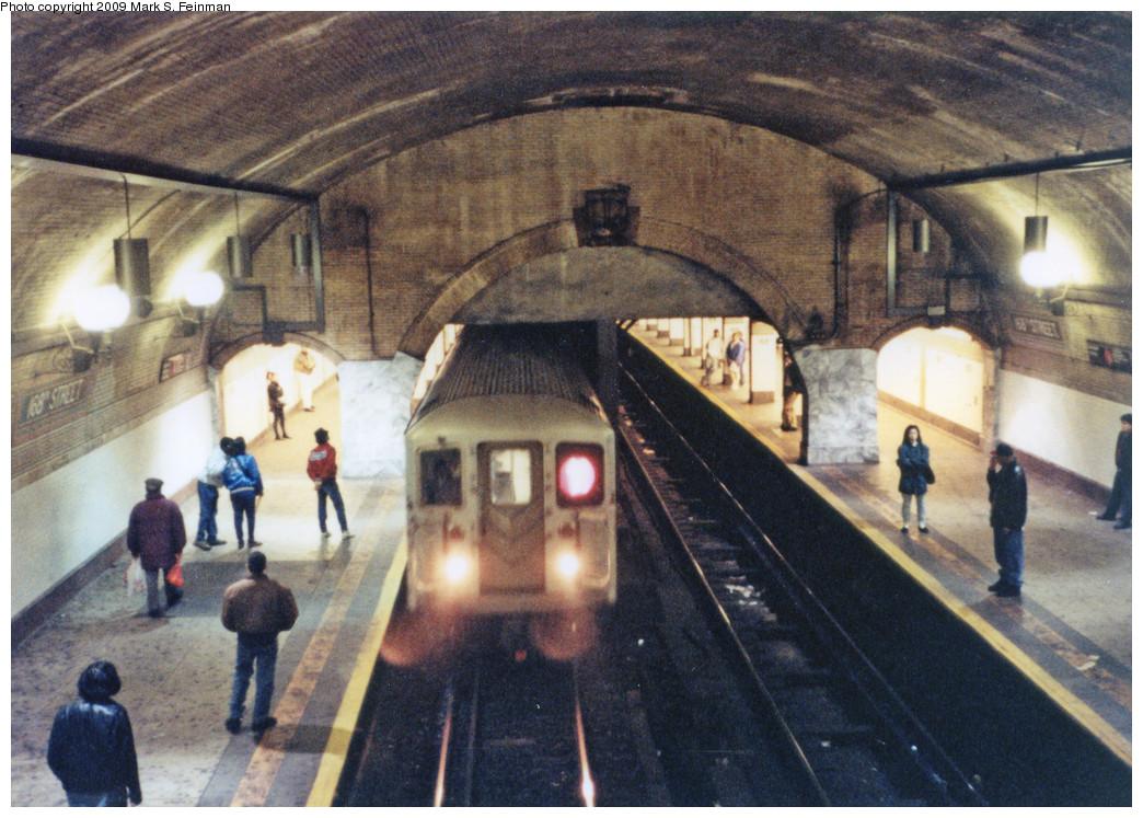 (308k, 1044x747)<br><b>Country:</b> United States<br><b>City:</b> New York<br><b>System:</b> New York City Transit<br><b>Line:</b> IRT West Side Line<br><b>Location:</b> 168th Street<br><b>Route:</b> 1<br><b>Car:</b> R-62A (Bombardier, 1984-1987)  <br><b>Photo by:</b> Mark S. Feinman<br><b>Date:</b> 1993<br><b>Viewed (this week/total):</b> 2 / 3149