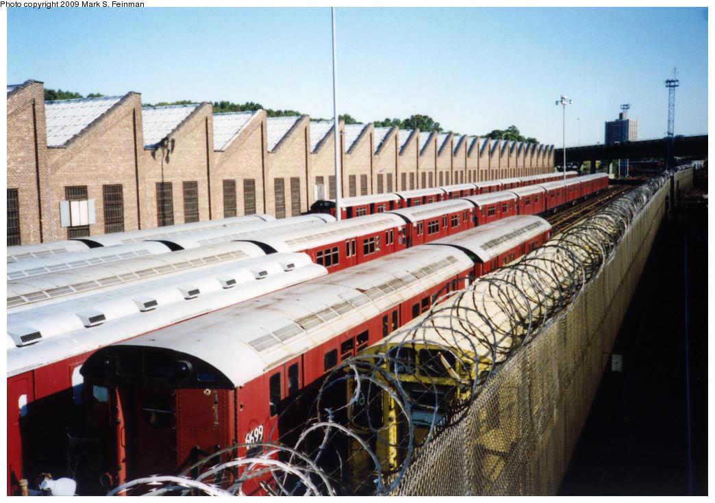 (282k, 1044x735)<br><b>Country:</b> United States<br><b>City:</b> New York<br><b>System:</b> New York City Transit<br><b>Location:</b> East 180th Street Yard<br><b>Car:</b> R-17 (St. Louis, 1955-56) 6699 <br><b>Photo by:</b> Mark S. Feinman<br><b>Date:</b> 1993<br><b>Viewed (this week/total):</b> 0 / 1446