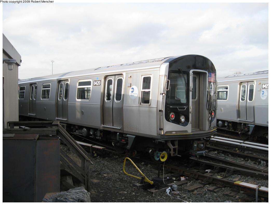 (177k, 1044x788)<br><b>Country:</b> United States<br><b>City:</b> New York<br><b>System:</b> New York City Transit<br><b>Location:</b> East New York Yard/Shops<br><b>Car:</b> R-160A-1 (Alstom, 2005-2008, 4 car sets)  8420 <br><b>Photo by:</b> Robert Mencher<br><b>Date:</b> 12/14/2009<br><b>Viewed (this week/total):</b> 1 / 647