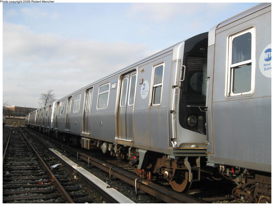(190k, 1044x788)<br><b>Country:</b> United States<br><b>City:</b> New York<br><b>System:</b> New York City Transit<br><b>Location:</b> East New York Yard/Shops<br><b>Car:</b> R-160A-1 (Alstom, 2005-2008, 4 car sets)  8461 <br><b>Photo by:</b> Robert Mencher<br><b>Date:</b> 12/14/2009<br><b>Viewed (this week/total):</b> 0 / 724