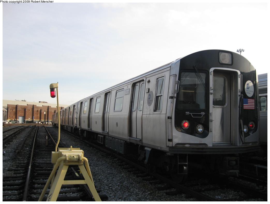 (152k, 1044x788)<br><b>Country:</b> United States<br><b>City:</b> New York<br><b>System:</b> New York City Transit<br><b>Location:</b> East New York Yard/Shops<br><b>Car:</b> R-143 (Kawasaki, 2001-2002) 8312 <br><b>Photo by:</b> Robert Mencher<br><b>Date:</b> 12/14/2009<br><b>Viewed (this week/total):</b> 0 / 664