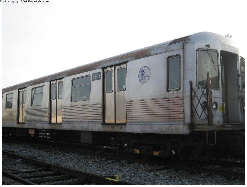 (146k, 1044x788)<br><b>Country:</b> United States<br><b>City:</b> New York<br><b>System:</b> New York City Transit<br><b>Location:</b> East New York Yard/Shops<br><b>Car:</b> R-42 (St. Louis, 1969-1970)  4803 <br><b>Photo by:</b> Robert Mencher<br><b>Date:</b> 12/14/2009<br><b>Viewed (this week/total):</b> 1 / 621