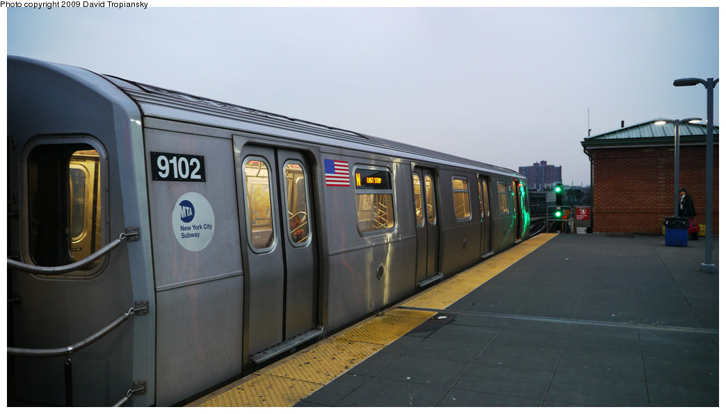 (165k, 1044x596)<br><b>Country:</b> United States<br><b>City:</b> New York<br><b>System:</b> New York City Transit<br><b>Location:</b> Coney Island/Stillwell Avenue<br><b>Route:</b> N<br><b>Car:</b> R-160B (Option 1) (Kawasaki, 2008-2009)  9102 <br><b>Photo by:</b> David Tropiansky<br><b>Date:</b> 12/7/2009<br><b>Viewed (this week/total):</b> 4 / 1325
