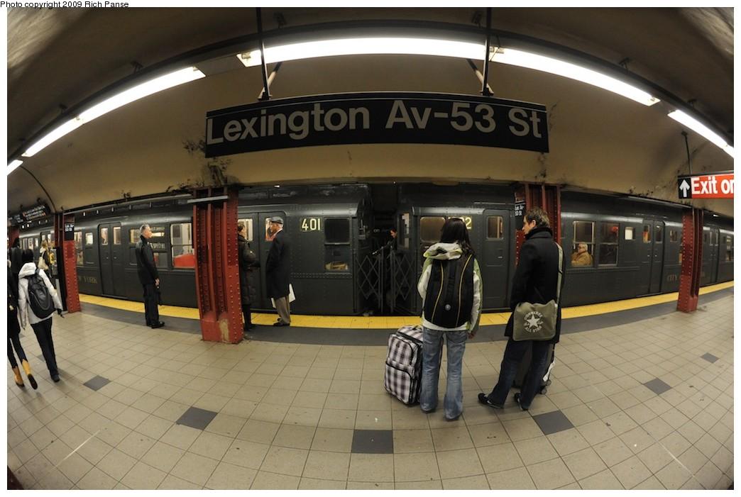 (173k, 1044x701)<br><b>Country:</b> United States<br><b>City:</b> New York<br><b>System:</b> New York City Transit<br><b>Line:</b> IND Queens Boulevard Line<br><b>Location:</b> Lexington Avenue-53rd Street <br><b>Route:</b> Museum Train Service (V)<br><b>Car:</b> R-4 (American Car & Foundry, 1932-1933) 401 <br><b>Photo by:</b> Richard Panse<br><b>Date:</b> 12/13/2009<br><b>Viewed (this week/total):</b> 3 / 1094