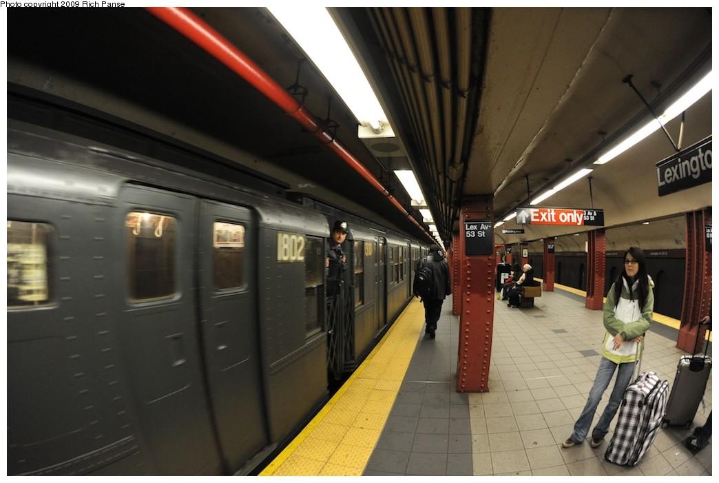 (156k, 1044x701)<br><b>Country:</b> United States<br><b>City:</b> New York<br><b>System:</b> New York City Transit<br><b>Line:</b> IND Queens Boulevard Line<br><b>Location:</b> Lexington Avenue-53rd Street <br><b>Route:</b> Museum Train Service (V)<br><b>Car:</b> R-9 (Pressed Steel, 1940)  1802 <br><b>Photo by:</b> Richard Panse<br><b>Date:</b> 12/13/2009<br><b>Viewed (this week/total):</b> 0 / 1109