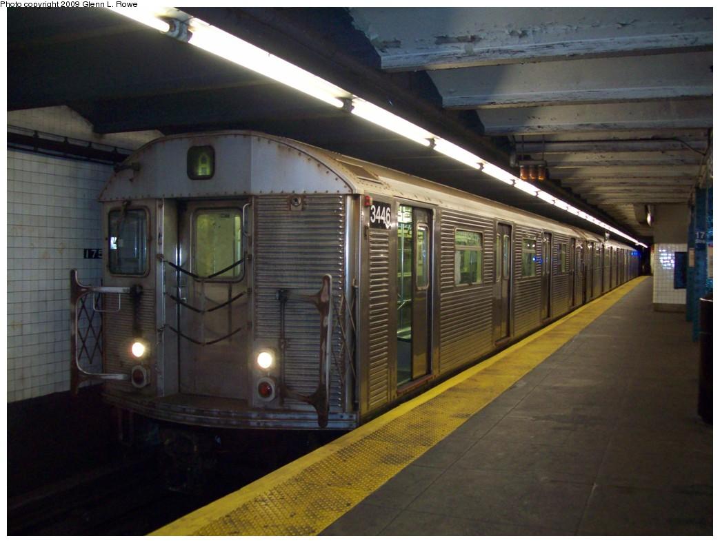 (194k, 1044x788)<br><b>Country:</b> United States<br><b>City:</b> New York<br><b>System:</b> New York City Transit<br><b>Line:</b> IND 8th Avenue Line<br><b>Location:</b> 175th Street/George Washington Bridge Bus Terminal <br><b>Route:</b> A<br><b>Car:</b> R-32 (Budd, 1964)  3446 <br><b>Photo by:</b> Glenn L. Rowe<br><b>Date:</b> 12/22/2009<br><b>Viewed (this week/total):</b> 4 / 1479