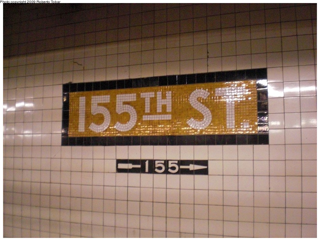 (229k, 1044x788)<br><b>Country:</b> United States<br><b>City:</b> New York<br><b>System:</b> New York City Transit<br><b>Line:</b> IND 8th Avenue Line<br><b>Location:</b> 155th Street <br><b>Photo by:</b> Roberto C. Tobar<br><b>Date:</b> 12/19/2009<br><b>Viewed (this week/total):</b> 0 / 933
