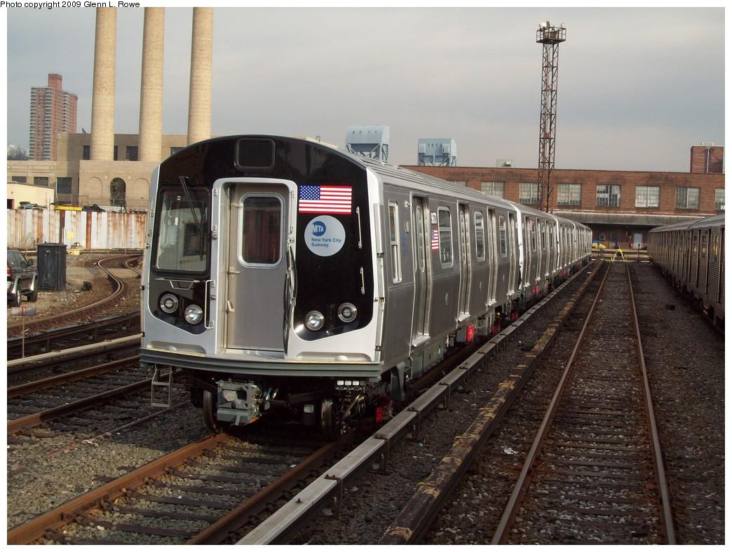 (245k, 1044x788)<br><b>Country:</b> United States<br><b>City:</b> New York<br><b>System:</b> New York City Transit<br><b>Location:</b> 207th Street Yard<br><b>Car:</b> R-160A (Option 2) (Alstom, 2009, 5-car sets)  9673 <br><b>Photo by:</b> Glenn L. Rowe<br><b>Date:</b> 12/7/2009<br><b>Viewed (this week/total):</b> 1 / 1586