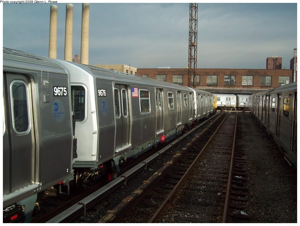 (210k, 1044x788)<br><b>Country:</b> United States<br><b>City:</b> New York<br><b>System:</b> New York City Transit<br><b>Location:</b> 207th Street Yard<br><b>Car:</b> R-160A (Option 2) (Alstom, 2009, 5-car sets)  9676 <br><b>Photo by:</b> Glenn L. Rowe<br><b>Date:</b> 12/7/2009<br><b>Viewed (this week/total):</b> 0 / 839