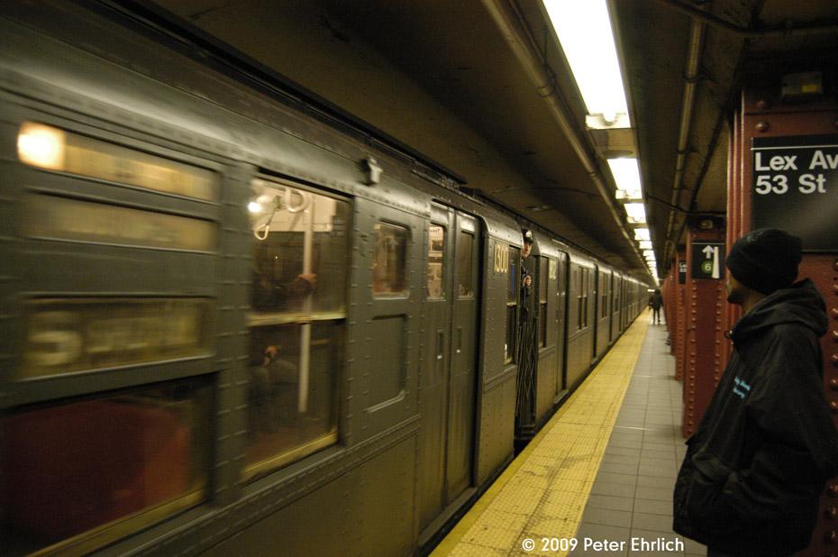 (161k, 930x618)<br><b>Country:</b> United States<br><b>City:</b> New York<br><b>System:</b> New York City Transit<br><b>Line:</b> IND Queens Boulevard Line<br><b>Location:</b> Lexington Avenue-53rd Street <br><b>Car:</b> R-6-1 (Pressed Steel, 1936)  1300 <br><b>Photo by:</b> Peter Ehrlich<br><b>Date:</b> 12/13/2009<br><b>Notes:</b> Outbound<br><b>Viewed (this week/total):</b> 0 / 1090