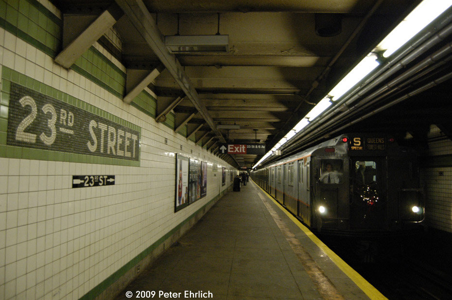 (165k, 930x618)<br><b>Country:</b> United States<br><b>City:</b> New York<br><b>System:</b> New York City Transit<br><b>Line:</b> IND 6th Avenue Line<br><b>Location:</b> 23rd Street <br><b>Car:</b> R-7A (Pullman, 1938)  1575 <br><b>Photo by:</b> Peter Ehrlich<br><b>Date:</b> 12/13/2009<br><b>Notes:</b> Outbound<br><b>Viewed (this week/total):</b> 2 / 1301