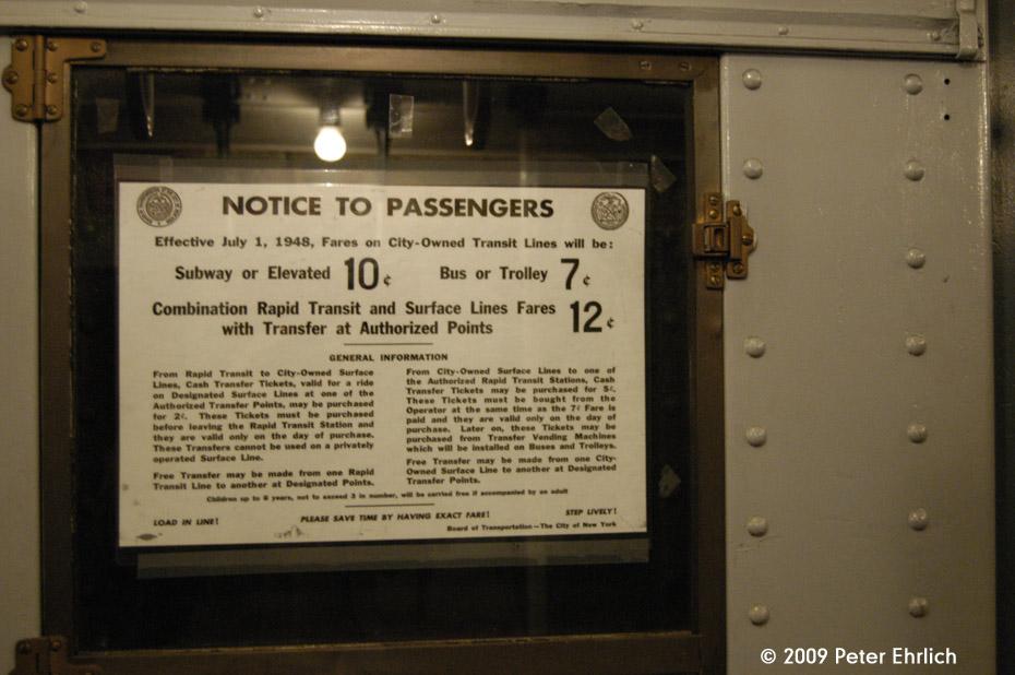 (148k, 930x618)<br><b>Country:</b> United States<br><b>City:</b> New York<br><b>System:</b> New York City Transit<br><b>Car:</b> R-1 (American Car & Foundry, 1930-1931) 381 <br><b>Photo by:</b> Peter Ehrlich<br><b>Date:</b> 12/13/2009<br><b>Notes:</b> 1948 Fare Increase Notice on R1 381.<br><b>Viewed (this week/total):</b> 1 / 982