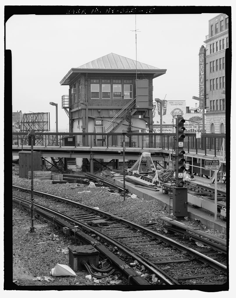 (177k, 811x1024)<br><b>Country:</b> United States<br><b>City:</b> New York<br><b>System:</b> New York City Transit<br><b>Location:</b> Coney Island/Stillwell Avenue<br><b>Photo by:</b> Rob Tucher, Historic American Engineering Record<br><b>Collection of:</b> Library of Congress, Prints and Photographs Division<br><b>Notes:</b> Oblique view of north elevation of signal tower. Looking south by southwest.<br><b>Viewed (this week/total):</b> 4 / 1519