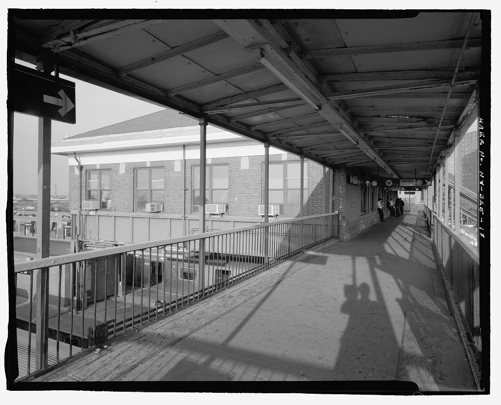 (139k, 1024x828)<br><b>Country:</b> United States<br><b>City:</b> New York<br><b>System:</b> New York City Transit<br><b>Location:</b> Coney Island/Stillwell Avenue<br><b>Photo by:</b> Rob Tucher, Historic American Engineering Record<br><b>Collection of:</b> Library of Congress, Prints and Photographs Division<br><b>Notes:</b> Oblique view of south front and west elevation of RTO building from platform above tracks. Looking northeast.<br><b>Viewed (this week/total):</b> 2 / 1528