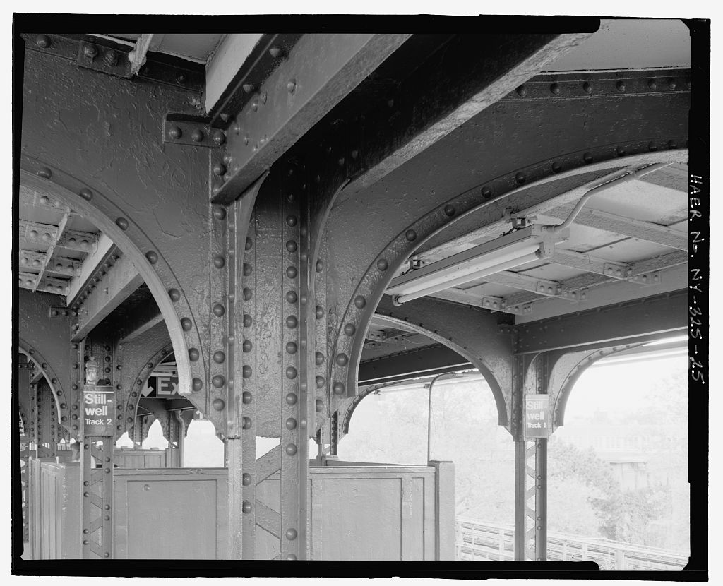 (133k, 1024x830)<br><b>Country:</b> United States<br><b>City:</b> New York<br><b>System:</b> New York City Transit<br><b>Location:</b> Coney Island/Stillwell Avenue<br><b>Photo by:</b> Rob Tucher, Historic American Engineering Record<br><b>Collection of:</b> Library of Congress, Prints and Photographs Division<br><b>Notes:</b> Detail of canopy supports. Looking northeast.<br><b>Viewed (this week/total):</b> 0 / 1027