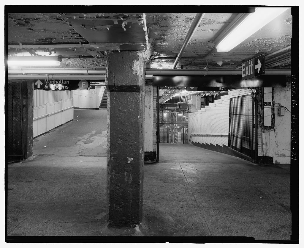 (157k, 1024x834)<br><b>Country:</b> United States<br><b>City:</b> New York<br><b>System:</b> New York City Transit<br><b>Location:</b> Coney Island/Stillwell Avenue<br><b>Photo by:</b> Rob Tucher, Historic American Engineering Record<br><b>Collection of:</b> Library of Congress, Prints and Photographs Division<br><b>Notes:</b> View from waiting area level looking up ramp to F train platform and down ramp to street level. Looking north.<br><b>Viewed (this week/total):</b> 2 / 1381
