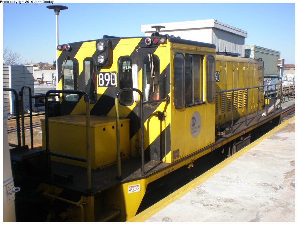 (226k, 1044x788)<br><b>Country:</b> United States<br><b>City:</b> New York<br><b>System:</b> New York City Transit<br><b>Line:</b> BMT West End Line<br><b>Location:</b> 62nd Street <br><b>Route:</b> Work Service<br><b>Car:</b> R-77 Locomotive  890 <br><b>Photo by:</b> John Dooley<br><b>Date:</b> 12/29/2009<br><b>Viewed (this week/total):</b> 1 / 590