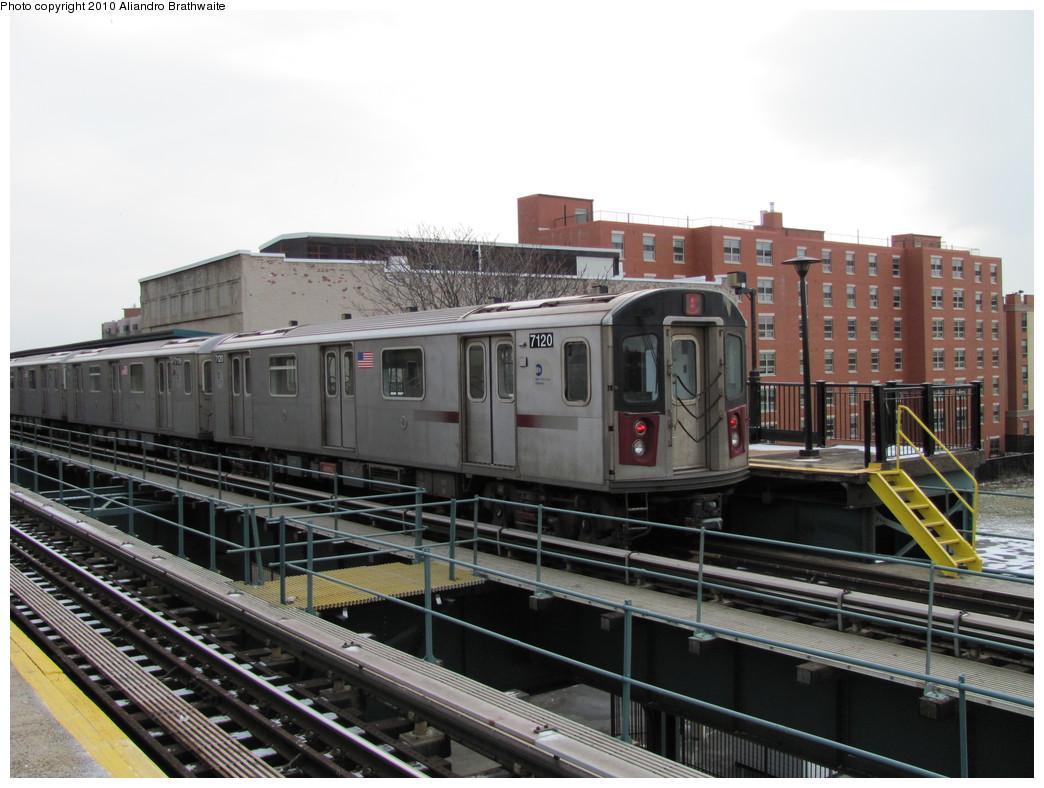 (209k, 1044x788)<br><b>Country:</b> United States<br><b>City:</b> New York<br><b>System:</b> New York City Transit<br><b>Line:</b> IRT Brooklyn Line<br><b>Location:</b> Rockaway Avenue <br><b>Route:</b> 4<br><b>Car:</b> R-142 (Option Order, Bombardier, 2002-2003)  7120 <br><b>Photo by:</b> Aliandro Brathwaite<br><b>Date:</b> 1/2/2010<br><b>Viewed (this week/total):</b> 1 / 1290