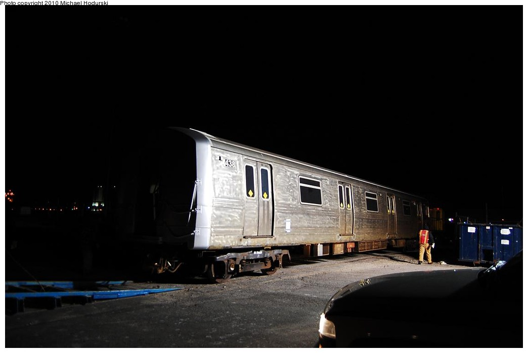 (125k, 1044x699)<br><b>Country:</b> United States<br><b>City:</b> New York<br><b>System:</b> New York City Transit<br><b>Line:</b> South Brooklyn Railway<br><b>Location:</b> SBK Yard (2nd Ave at 38th St.) (SBK)<br><b>Car:</b> R-44 SIRT (St. Louis, 1971-1973) 438 <br><b>Photo by:</b> Michael Hodurski<br><b>Date:</b> 1/6/2010<br><b>Notes:</b> Car headed to Coney Island Shops for overhaul.<br><b>Viewed (this week/total):</b> 2 / 1096