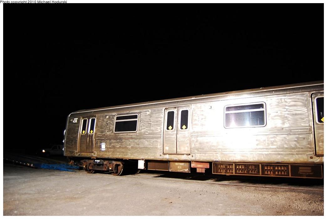 (156k, 1044x699)<br><b>Country:</b> United States<br><b>City:</b> New York<br><b>System:</b> New York City Transit<br><b>Line:</b> South Brooklyn Railway<br><b>Location:</b> SBK Yard (2nd Ave at 38th St.) (SBK)<br><b>Car:</b> R-44 SIRT (St. Louis, 1971-1973) 438 <br><b>Photo by:</b> Michael Hodurski<br><b>Date:</b> 1/6/2010<br><b>Notes:</b> Car headed to Coney Island Shops for overhaul.<br><b>Viewed (this week/total):</b> 0 / 1290