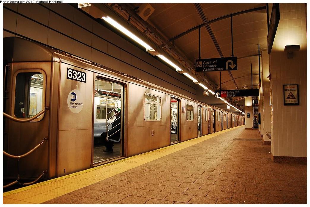 (253k, 1044x699)<br><b>Country:</b> United States<br><b>City:</b> New York<br><b>System:</b> New York City Transit<br><b>Line:</b> IRT West Side Line<br><b>Location:</b> South Ferry (New Station) <br><b>Route:</b> 2<br><b>Car:</b> R-142 (Primary Order, Bombardier, 1999-2002)  6323 <br><b>Photo by:</b> Michael Hodurski<br><b>Date:</b> 1/9/2010<br><b>Viewed (this week/total):</b> 2 / 1976
