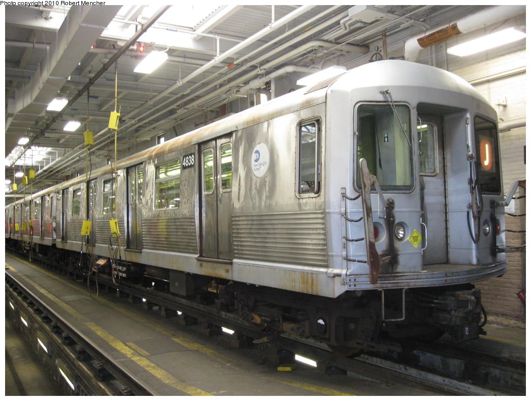 (238k, 1044x788)<br><b>Country:</b> United States<br><b>City:</b> New York<br><b>System:</b> New York City Transit<br><b>Location:</b> East New York Yard/Shops<br><b>Car:</b> R-42 (St. Louis, 1969-1970)  4838 <br><b>Photo by:</b> Robert Mencher<br><b>Date:</b> 1/4/2010<br><b>Viewed (this week/total):</b> 0 / 776