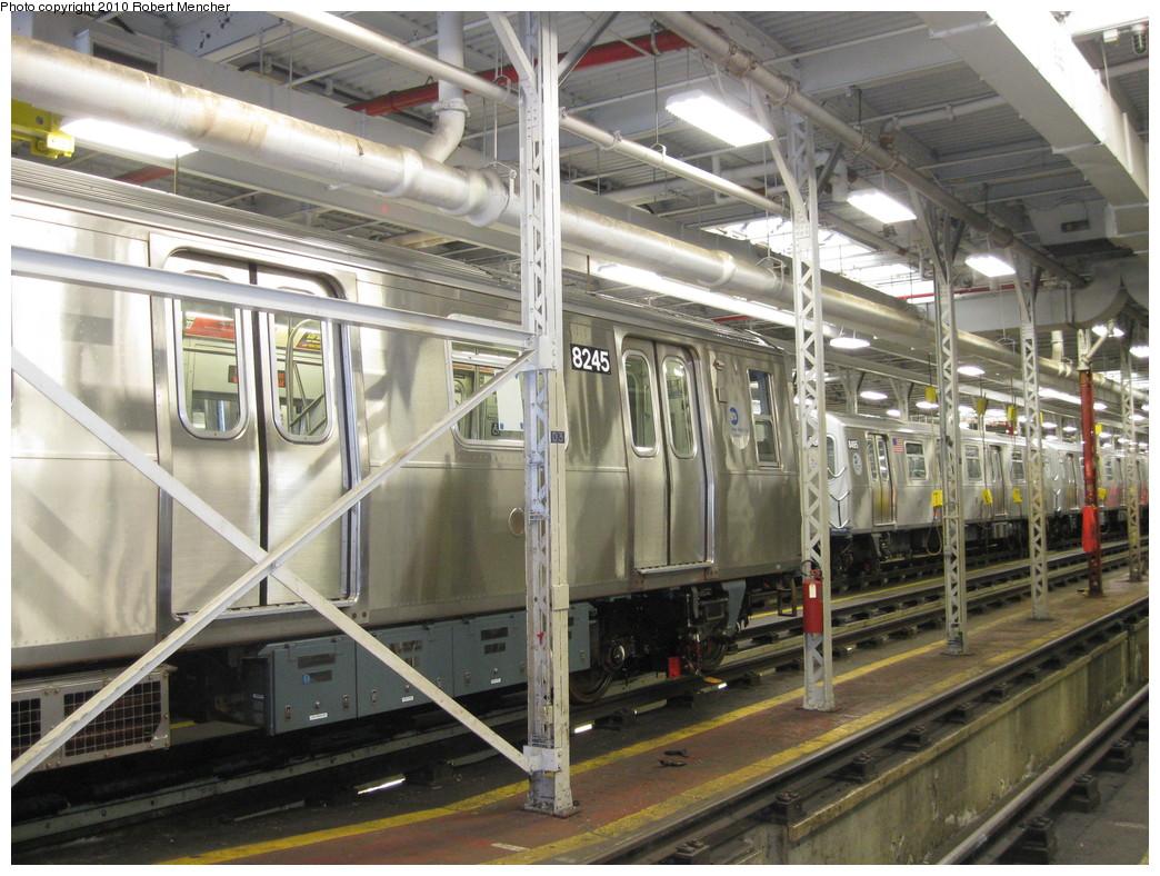 (256k, 1044x788)<br><b>Country:</b> United States<br><b>City:</b> New York<br><b>System:</b> New York City Transit<br><b>Location:</b> East New York Yard/Shops<br><b>Car:</b> R-143 (Kawasaki, 2001-2002) 8245 <br><b>Photo by:</b> Robert Mencher<br><b>Date:</b> 1/4/2010<br><b>Viewed (this week/total):</b> 0 / 959