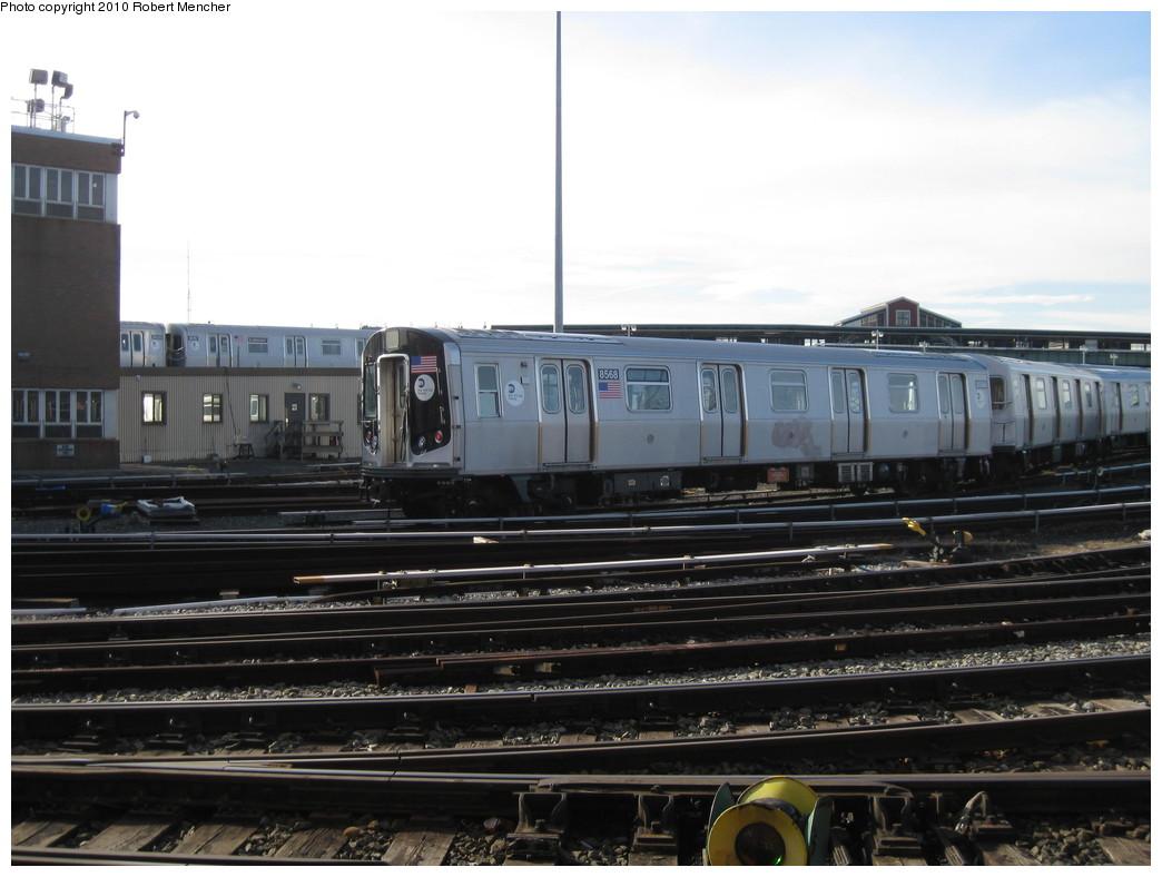 (177k, 1044x788)<br><b>Country:</b> United States<br><b>City:</b> New York<br><b>System:</b> New York City Transit<br><b>Location:</b> East New York Yard/Shops<br><b>Car:</b> R-160A-1 (Alstom, 2005-2008, 4 car sets)  8568 <br><b>Photo by:</b> Robert Mencher<br><b>Date:</b> 1/4/2010<br><b>Viewed (this week/total):</b> 0 / 646