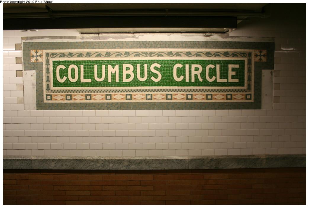 (179k, 1044x703)<br><b>Country:</b> United States<br><b>City:</b> New York<br><b>System:</b> New York City Transit<br><b>Line:</b> IRT West Side Line<br><b>Location:</b> 59th Street/Columbus Circle <br><b>Photo by:</b> Paul Shaw<br><b>Date:</b> 1/9/2010<br><b>Notes:</b> Replica mosaic panel installed at Columbus Circle.<br><b>Viewed (this week/total):</b> 0 / 916
