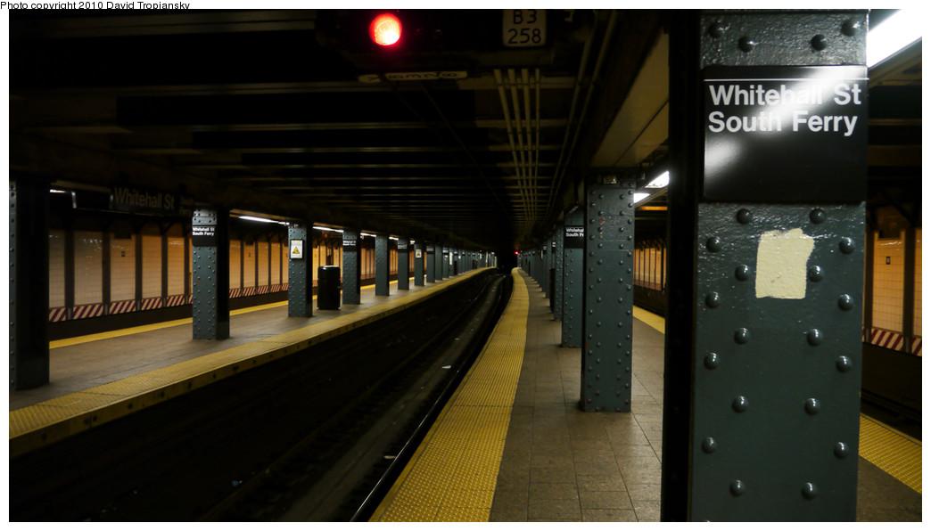 (175k, 1044x596)<br><b>Country:</b> United States<br><b>City:</b> New York<br><b>System:</b> New York City Transit<br><b>Line:</b> BMT Broadway Line<br><b>Location:</b> Whitehall Street <br><b>Photo by:</b> David Tropiansky<br><b>Date:</b> 1/2/2010<br><b>Viewed (this week/total):</b> 0 / 1083