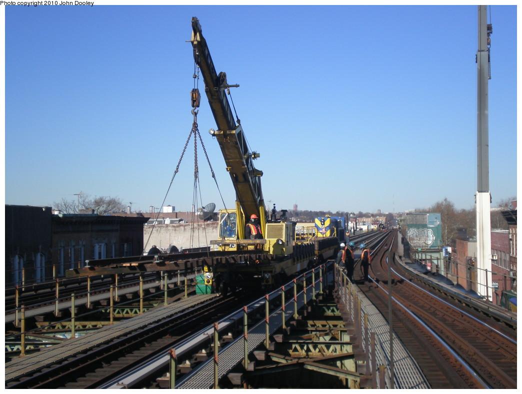 (212k, 1044x788)<br><b>Country:</b> United States<br><b>City:</b> New York<br><b>System:</b> New York City Transit<br><b>Line:</b> BMT Culver Line<br><b>Location:</b> 18th Avenue <br><b>Route:</b> Work Service<br><b>Car:</b> R-102 Crane Car  275 <br><b>Photo by:</b> John Dooley<br><b>Date:</b> 1/9/2010<br><b>Viewed (this week/total):</b> 1 / 1129