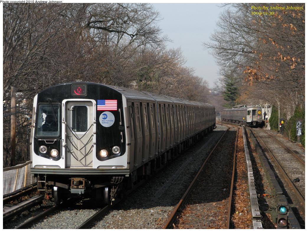 (366k, 1044x788)<br><b>Country:</b> United States<br><b>City:</b> New York<br><b>System:</b> New York City Transit<br><b>Line:</b> BMT Brighton Line<br><b>Location:</b> Avenue J <br><b>Route:</b> Q<br><b>Car:</b> R-160B (Option 1) (Kawasaki, 2008-2009)  9107 <br><b>Photo by:</b> Andrew Johnson<br><b>Date:</b> 12/30/2009<br><b>Notes:</b> View from temporary platform at Ave J.<br><b>Viewed (this week/total):</b> 0 / 1399