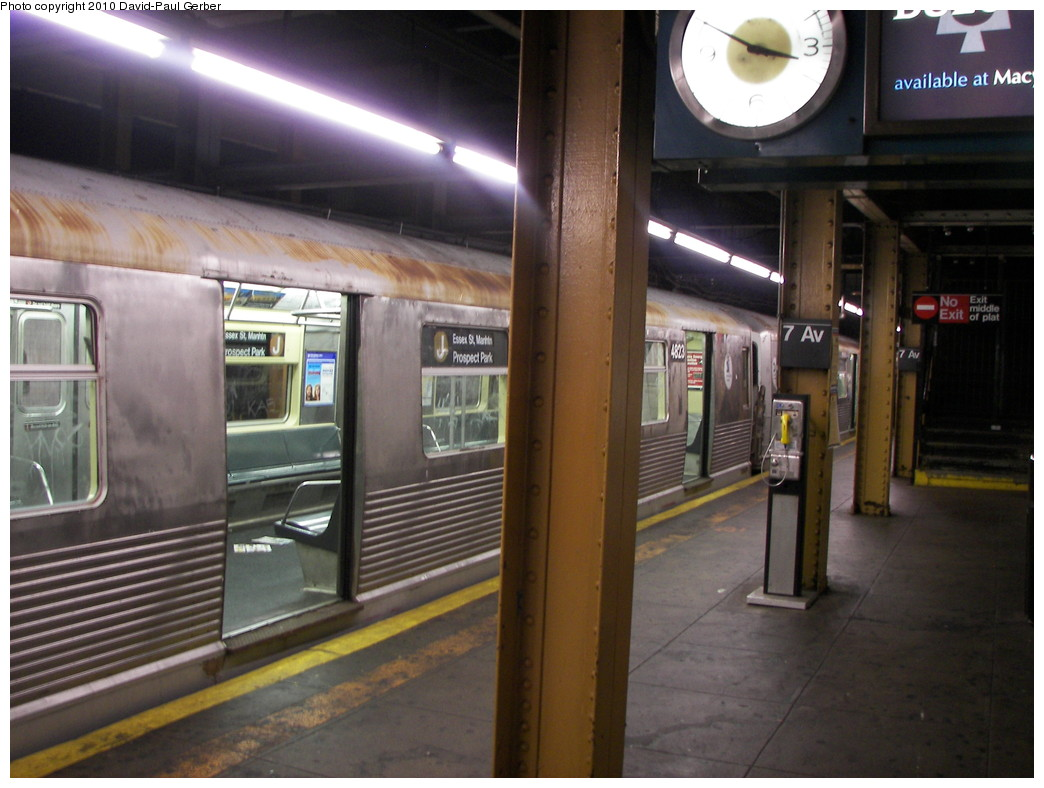 (246k, 1044x788)<br><b>Country:</b> United States<br><b>City:</b> New York<br><b>System:</b> New York City Transit<br><b>Line:</b> BMT Brighton Line<br><b>Location:</b> 7th Avenue <br><b>Route:</b> J<br><b>Car:</b> R-42 (St. Louis, 1969-1970)  4823 <br><b>Photo by:</b> David-Paul Gerber<br><b>Date:</b> 1/17/2010<br><b>Viewed (this week/total):</b> 2 / 2060